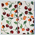 4 Ceramic Coasters in Emma Bridgewater Cherries